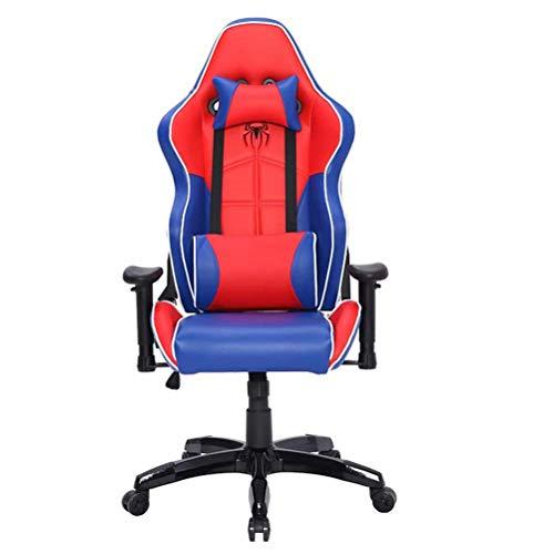 Pkfinrd - Silla ergonómica de alta gama, soporte lumbar reposabrazos, escritorio de ordenador de escritorio ejecutivo, piel sintética, silla Racing