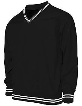 BCPOLO Men s V Neck Golf Wind Shirt Athletic Windbreaker V Neck Shirt Black XL