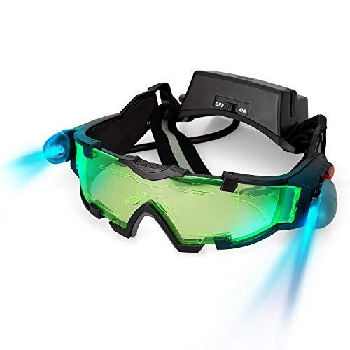 WEREIOV Visión Nocturna Gafas Protectoras, Compacta Ajustable LED Niño Noche Gafas Espía Protectoras Voltear luz Verde Lente Utilizado para Ciclismo Deslizante Protección Ojo