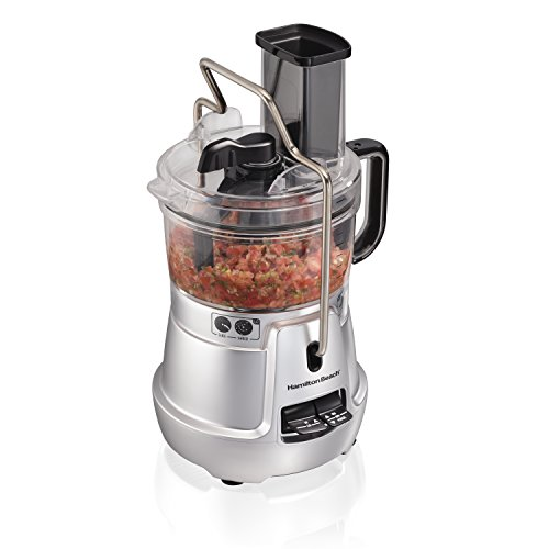 Hamilton Beach Stack & Snap 8-Cup Food Processor & Vegetable Chopper with Adjustable Slicing Blade, Built-in Bowl Scraper & Storage Case, Silver (70820)