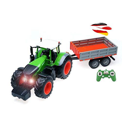 RC Ferngesteuerter Traktor mit Anhänger, Sound und Beleuchtung, inkl. 2.4GHz Fernsteuerung, Akku und...