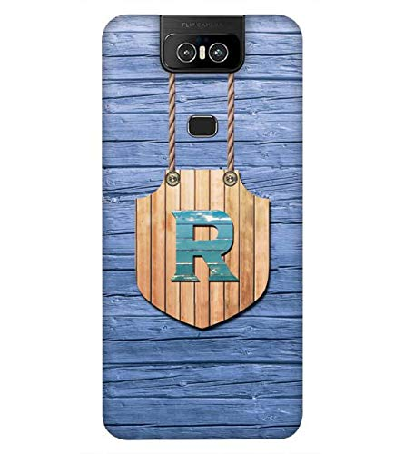 YuBingo Mobile Case for Asus Zenfone 6 ZS630KL (Asus 6Z) (Designer Printed Hard Plastic Back Cover, Radiant Letter R (Wood Finish Printed))