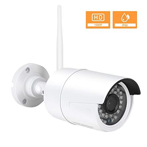 Drahtlose CCTV IP Kamera, HD 1080P ONVIF Outdoor Überwachungskamera mit 2 Wege Audio, wetterfestem IP66 Schutz, Bewegungserkennung, 20 m Nachtsicht, AP Hotspot Suche, bis zu 64 GB SD Karte(EU)
