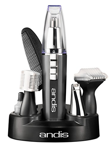 Andis EasyTrim2 9-Piece Personal Ear, Nose, Eyebrow and Beard Trimmer Kit, Gray, Model MHT-4 (22720)