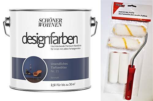Schöner Wohnen designfarben feinmatte Wandfarbe für innen 2,5 Liter mit go/on Rollen-Set 5-tlg (Nr 21 Unendliches Tiefseeblau)