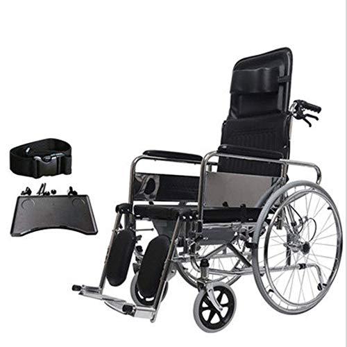 KEKEFUYUAN Verstellbarer Rollstuhl Mit Wegschwenkbaren Hochstellbaren Beinstützen. Abnehmbare Schreibtischlange Arme. Leichter Klapprollstuhl Aus Kohlenstoffstahl. Sportlicher Verstellbarer Rollstuhl