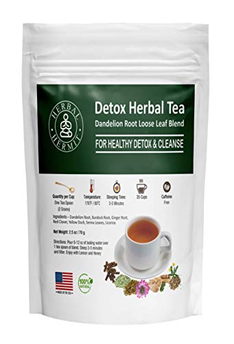 Burdock Root Tea with Dandelion Root for Liver and Colon Cleanse with Ginger Root, Red Clover, Senna  Detox Tea for Smooth Move - 85 GMS (Loose Blend)   Made in USA