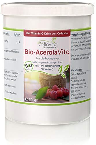 CELLAVITA Acerola Vita (Der Vitamin-C-Drink) natürliches Vitamin C aus der Acerola Kirsche | 500g Pulver