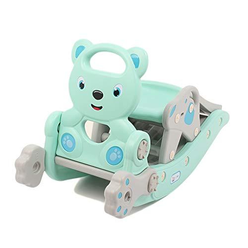 HUXIUPING Kinder Rutsche Schaukelpferd Zwei-in-One-Geburtstagsgeschenk EIN Jahr alt Baby Baby Dual-Use-Spielzeug Trojaner-Mädchen (Color : Blue)