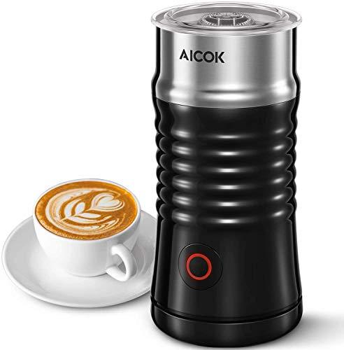 Aicok Milchaufschäumer Elektrisch, Automatischer und Doppelwandiger Edelstahl Milchschäumer, Erhitzen und Aufschäumen für Kaffee, Latte, Cappuccino ( Schwarz )