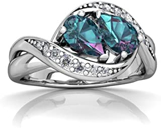 Lab Alexandrite and Diamond Pear Summer Winds Ring