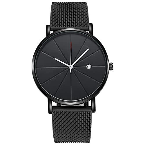 RTUQ Reloj de pulsera de cuarzo para hombre, delgado, minimalista, con correa de esfera, de cuarzo, de piel, a,