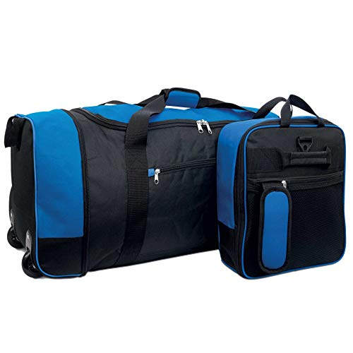 iN Travel Foldaway Holdall On Wheels (Black/Blue)