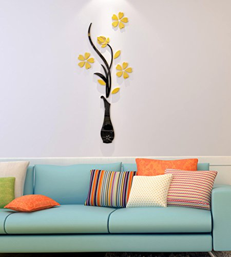 3d Vase Wall Murals for Living Room Bedroom Sofa Backdrop Tv Wall Background, Originality Stickers Gift, DIY Wall Decal Wall Decor Wall Decorations (Yellow, 30 X 12 inches)