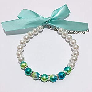 PetFavorites Ombre Pearls Dog Necklace Collar Jewelry for Small Dogs Puppy – Bling Rhinestones Cat Wedding Collar for Pets – Cute Teacup Chihuahua Yorkie Girl Clothes Costume Outfits Accessories