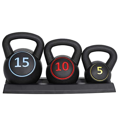 SUPER DEAL ケトルベル 3個セット 2kg 4kg 7kg 錆びないタイプ ダンベル【 エクササイズ フィットネス 筋力トレーニング 運動不足解消 】【握り易いグリップ PEコーティング 収納ベース付き 家庭、ジム適用 】