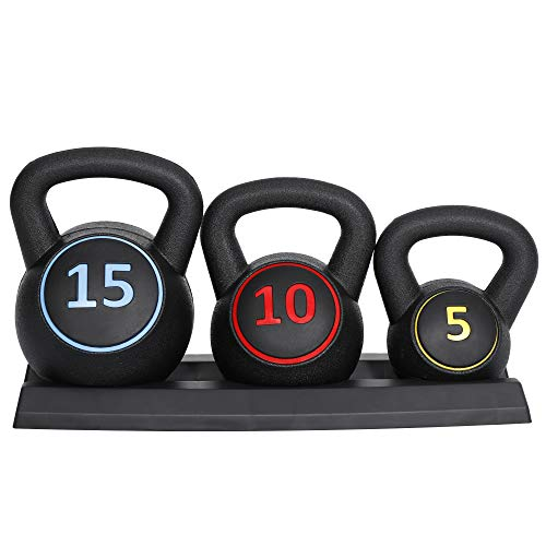 ZENY 3-Piece Kettlebell Set with Storage Rack Exercise Fitness Kettlebell Weights Set Concrete Kettle Bells Weight 5 lbs 10 lbs 15 lbs HDPE Covered Home Gym Workout Equipment