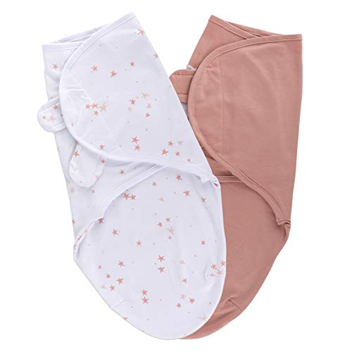 Ely ampCo Swaddleez Adjustable Baby Swaddle Wrap 2Pack  100% Cotton for Baby Girl from 03 Months Mauve Pink Stars amp Solid Dusty Rose