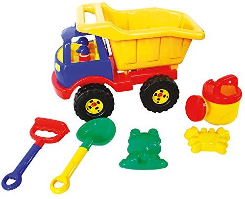 Idena 40161 - Sandspielzeug Set 6 teilig bestehend aus einem LKW, Harke, Schaufel, 2 Förmchen und Gießkanne, zum Spielen am Strand und im Sandkasten