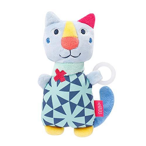 Fehn 055474 Schnullertier Katze COLOR Friends – Spieltier mit Rassel und Schnullerhalter für Babys ab 0 Monaten – Größe: 14 cm