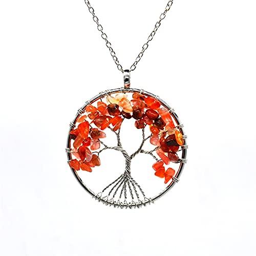 NBKLSD Cristal Natural/Rainbow Stone Cartul Collar Colgante para Mujer Hombres Péndulo Reiki Jewelry Chakra (Metal Color : P014)