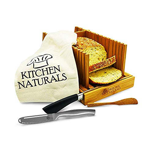 Magic Butter Knife and Premium Foldable Bread Slicer - Spreader and Cheese Cutter Knife together with Bread Slicer - Bonus Bamboo Butter Spreader, Storage Bag and Guide Book by Simple Spreading.