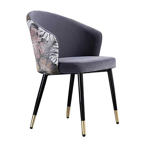North cool Velvet Dining Chair, Couchtisch Stühle, Morden Küche Dining Chair, Zähler Lounge Wohnzimmer Stuhl mit Armlehnen und Rückenlehne, Stühle for Eitelkeiten und Vanity Bänke (Color : Grey)