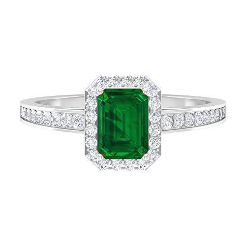 Anillo de diamante y esmeralda de 1,38 quilates, anillo de halo de diamante D-VSSI, anillo solitario con piedras laterales, anillo de 7x5 mm forma octágono, 14K Oro blanco, Size:EU 70