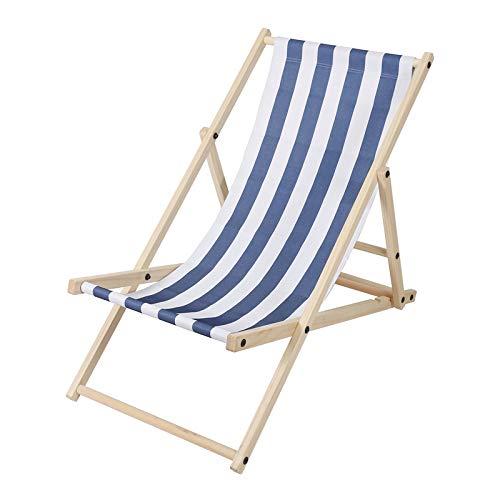 Hengda Holz Liegestuhl klappbar Gartenliege mit Armlehnen und Kopfkissen Abnehmbarem Strandliege für den Garten, Terrasse und Balkon (Gewöhnlich, Blau-Weiß-gestreift)