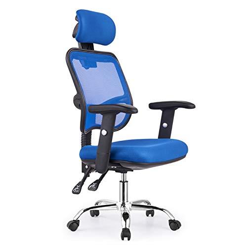 LZY Ergonómicas de Oficina Silla de Escritorio Ajustable Sillas de Malla giratoria Principal Tarea con Asiento Acolchado y reposabrazos Ajustable Negro (Color : Azul)
