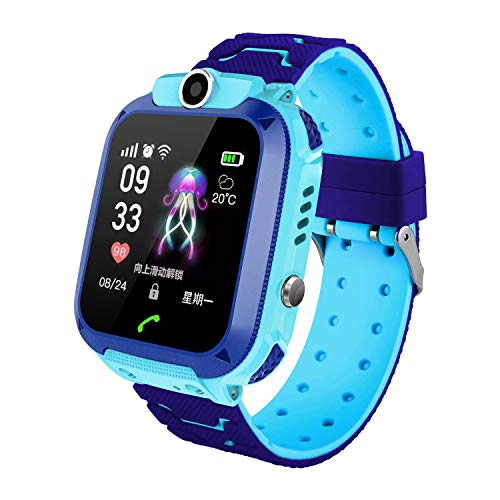 Kids Waterproof Smart Watch, LBS/GPS Tracker Touchscreen SOS Anti-Lost Camera Alarm Clock Voice Chat Games Smartwatch Phone Birthday Gifts for Children Girls Boys(Blue)