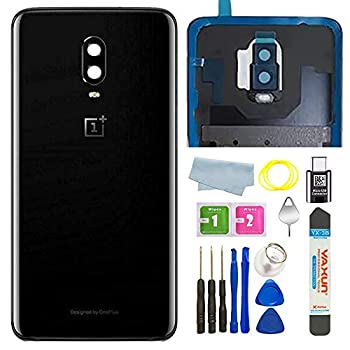 Battery Back Cover Rear Panel Glass with Camera Glass Lens/Flash Replacement for OnePlus 6T A6010 A6013 LTE 6.41  + Eject Pin Tools +C-Type Adapter  Mirror Black