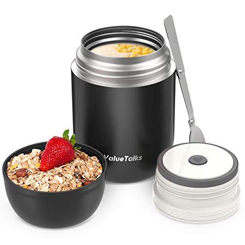 ValueTalks Thermobehälter für Essen Thermosspeisebehälter Edelstahl Essensbehälter Speisegefäß Lunchbox Thermobecher für Essen babybrei Suppe