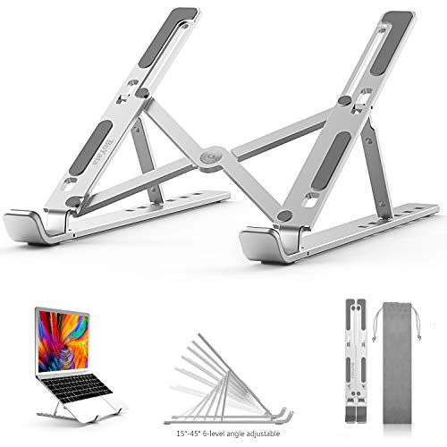 "BoYata Laptop Stand, 6 Levels of Height Adjustable Portable Laptop Holder for Desk, Aluminum Foldable Laptop Riser, Compatible with MacBook Air Pro, Dell XPS, HP, Lenovo, Most 10-15.6"" Laptops"