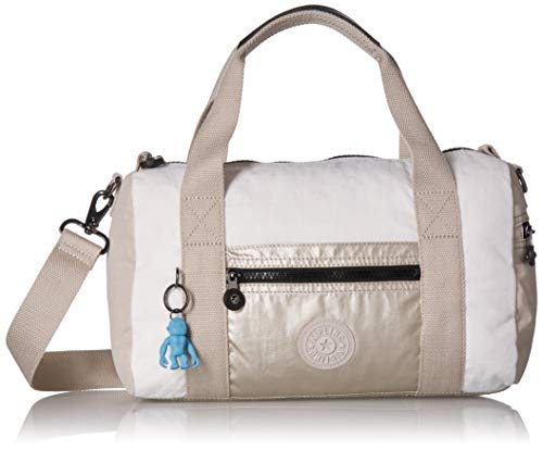 Kipling Tag Along Duffle, Essential Travel Bag, Multi Pocket, Zip Closure, Beige Combo
