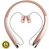 蓝牙耳机,DolTech 无线耳机,带自动可伸缩耳机,运动防汗噪声消除立体声耳机
