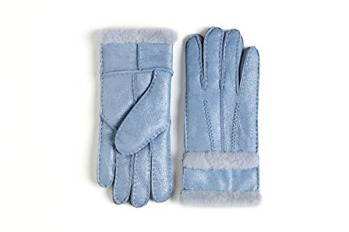 YISEVEN Damen Shearling Lederhandschuhe mit Gefüttert Winter Lammfell Leder Autofahrer Handschuhe