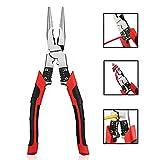Alicate pelacables, NEWACALOX Cortador de cables multifuncional 3-en-1 Linesman, Alicates de corte lateral automático con corte de engarce