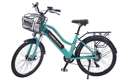 Hyuhome 2020 Actualización 26 pulgadas Potente bicicleta eléctrica para mujeres bicicleta de montaña 350 W Motor 36V/10AH Batería de litio extraíble Ebike (verde)