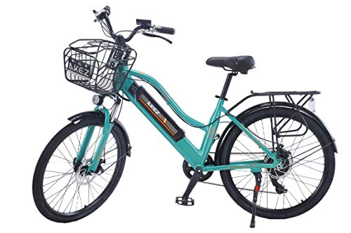 AKEZ 2020 Upgrade 26 Inch Powerful Electric Bicycle For Women Mountain Bike 350W Motor 36V/13AH Removable Lithium Battery Ebike (Green)