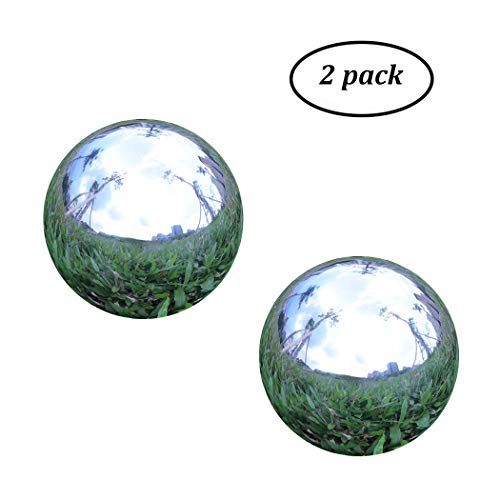 Pack of 2, Stainless Steel Hollow Gazing Ball Mirror Polished Shiny Sphere for Home Garden Ornament (4 Inch)