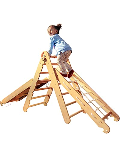 Set 3 in 1 Wooden Triangle Ladder + Climbing Net + Board Slide with...