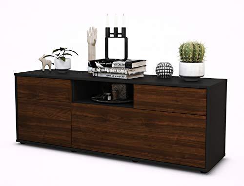 TV Schrank Lowboard Anita, Korpus in anthrazit matt / Front im Holz Design Walnuss (135x49x35cm), mit Push to Open Technik und hochwertigen Leichtlaufschienen, Made in Germany
