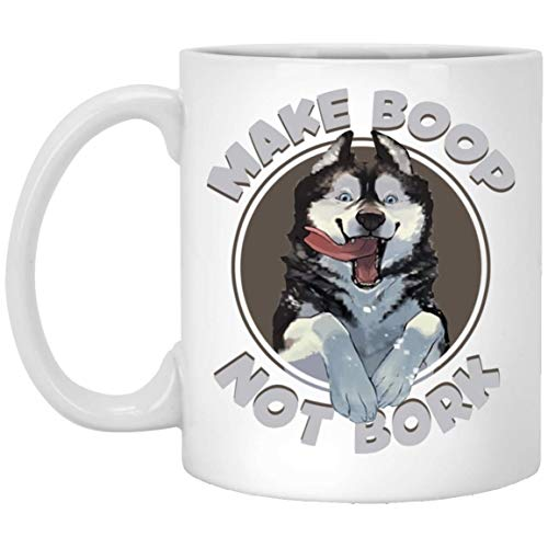 15oz White Ceramic Coffee Mug Christmas Holiday Gift Idea, Make Boop Not Bork Alaska
