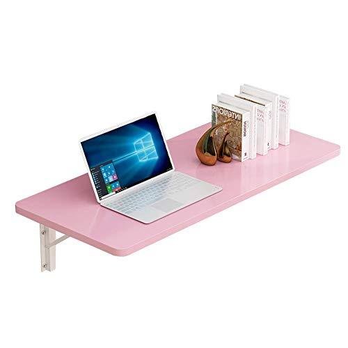 Eenvoudige en stijlvolle opvouwbare wandmontage tafel thuis eettafel leren bureau boekenplank, metalen beugel, 5 kleuren, 7 maten, ZND 100x40CM roze