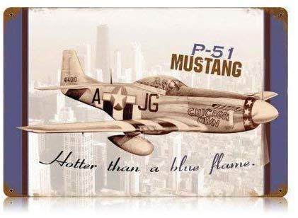qidushop Blechschild P51 Mustang Militär Flugzeug Tür Home Vintage Metall Blechschild Eisen Gemälde 25x35 Outdoor Schild Geschenk Lustiges Metall Straßenschild Wanddeko