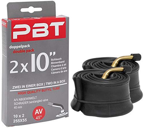 pbt Cámara de aire acodada 2 x 10 pulgadas AV para cochecitos o ruedas y más – 10 x 2 – rosca niquelada – 2021