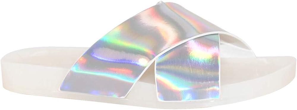TRENDSup Collection Criss Cross Hologram Slides Sandal