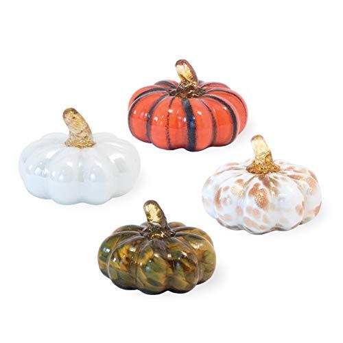Boston International Harvest Orange Green Goldtone Pumpkins 3 x 3 Glass Collectible Figurine, Set of 4