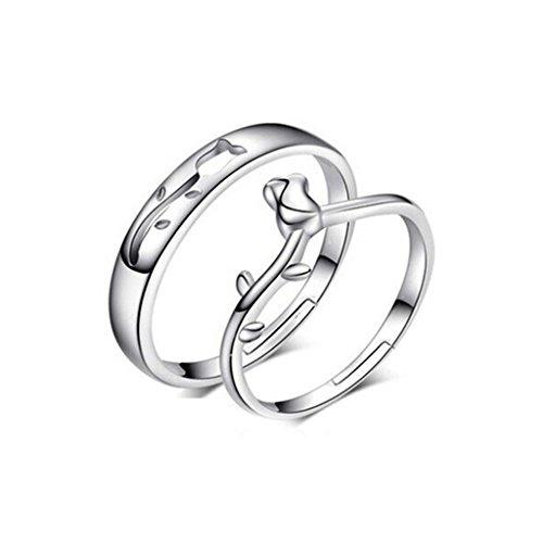 [比翼堂] レディース ファッション ペアリング 薔薇 指輪 サイズ調整可能 専用高級収納ケース付き シルバー磨きクロス付き ギフト梱包済み
